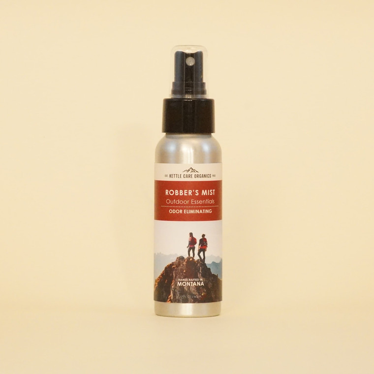 Robber's Mist Odor Eliminating Spray, Handcrafted in Montana, 2.7 fl oz, aluminum bottle with red label