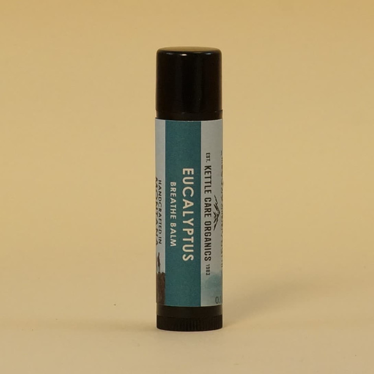 Eucalyptus Breathe Balm, Handcrafted in Montana, 0.2 oz tube, black plastic with green label