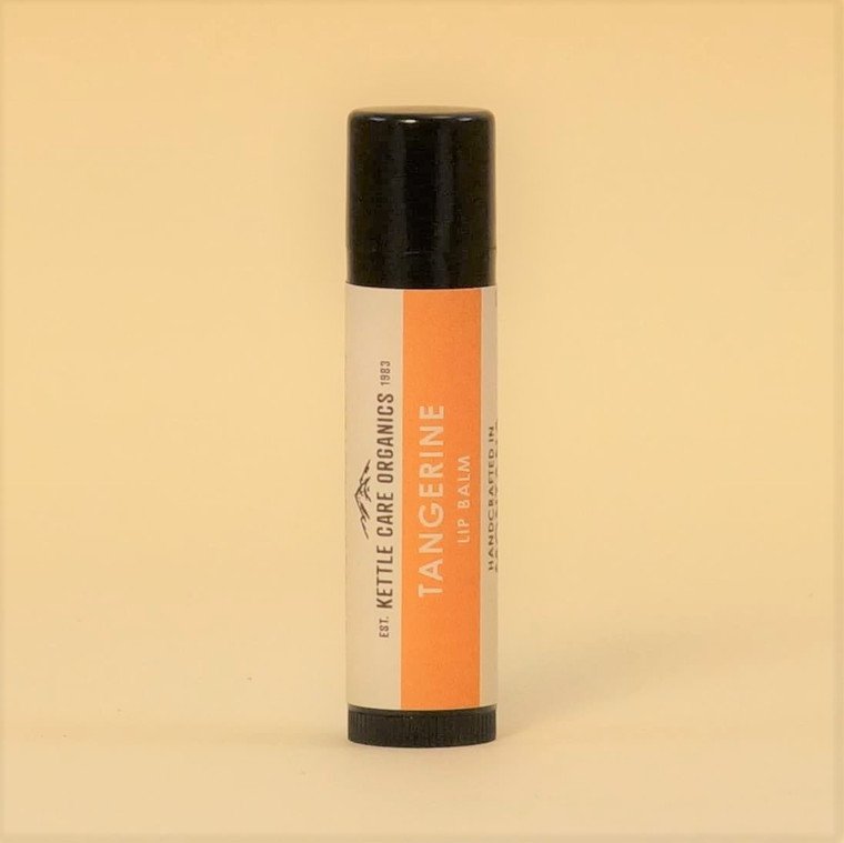 Tangerine Lip Balm, Handcrafted in Montana, 0.20 tube, tangerine-colored label