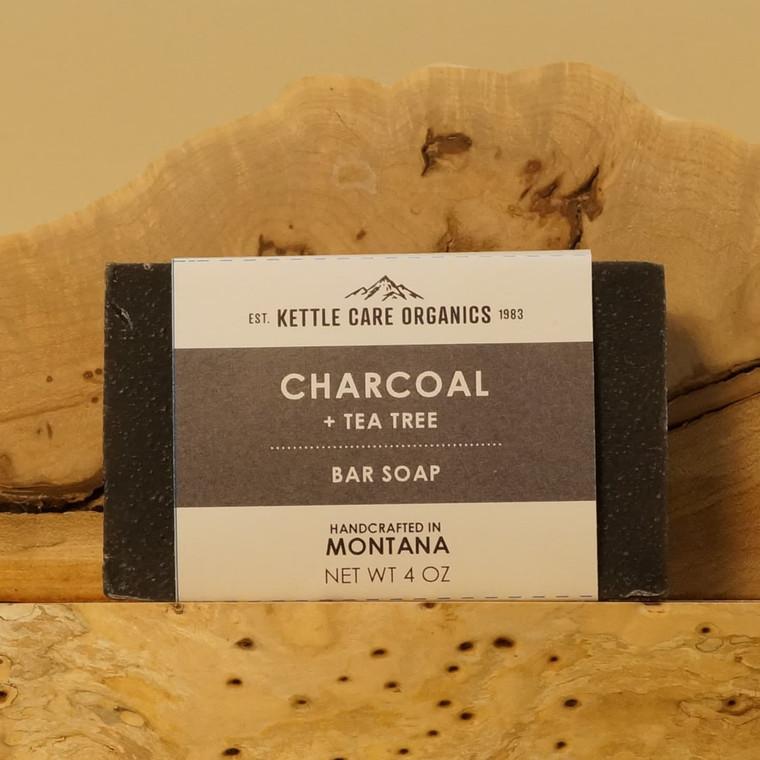 Charcoal + Tea Tree Bar Soap, 4 oz, charcoal grey label