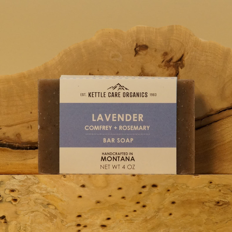 Lavender Bar Soap with Comfrey and Rosemary, 4 oz, purple label