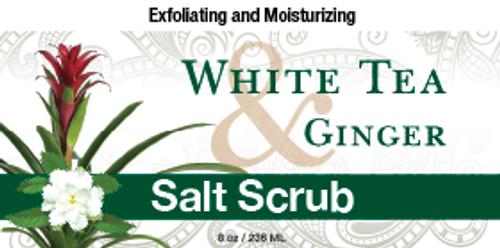 White Tea & Ginger Salt Scrub, 8 oz.