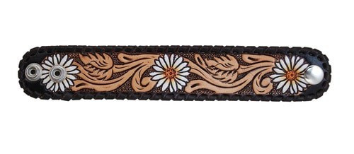 Painted Daisy Leather Cuff
