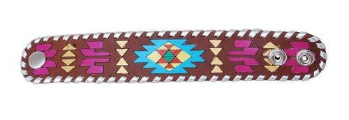 Painted Aztec Leather Cuff