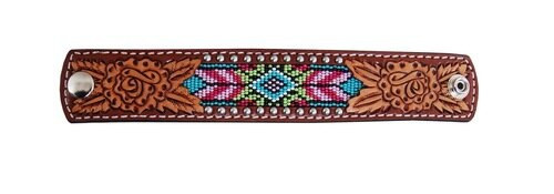 Beaded Inlay Leather Cuff