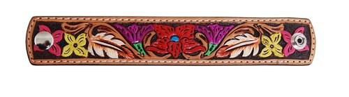Painted Floral Leather Cuff