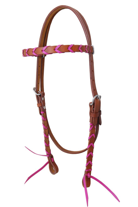 Colored Leather Plaited Headstalls