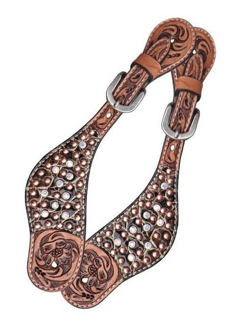 Copper and Crystal Spots Ladies Spur Straps