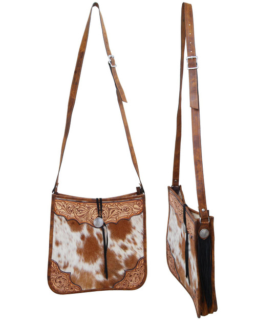Brown & White Cowhide Tote w/Leather Accents
