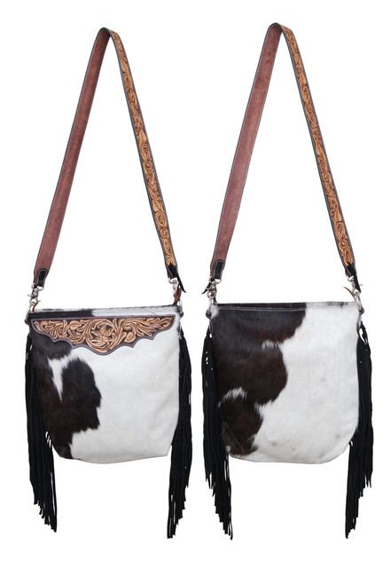 Black Jersey Cowhide w/Tooled Leather Accents Cross Body