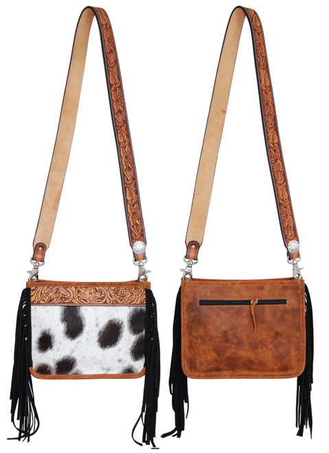 Black & White Cowhide W/Tooled Top Cross Body