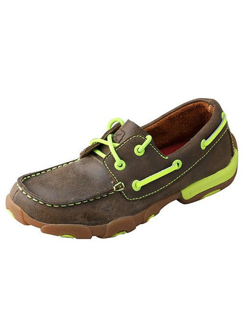 Twisted X Kid's Boat Shoe Driving Moc W/Yellow - Style #YDM0005
