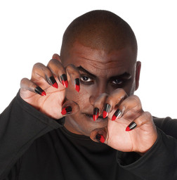 Pointy Black and Red Nails