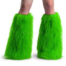 Green Yeti Furry Leg Warmers