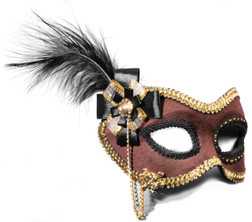 Fancy Brown Suede Feather Masquerade Mask
