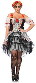 Sugar Skull Senorita Day of the Dead Costume - Plus Size