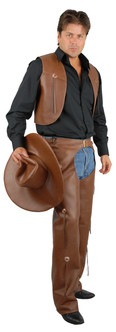 Brown Leather Chaps and Vest