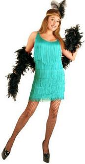 20s Aqua Fashion Flapper Costume - Plus Size