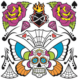Day of the Dead Neck and Chest Tattoos