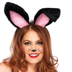 Plush Bunny Ears in Black or White