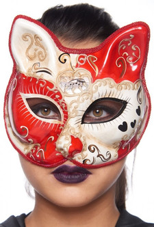 Red and White Molded-Plastic Masquerade Cat Mask