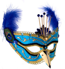 Peacock Masquerade Mask with Feathers