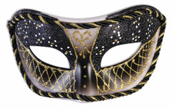 Black and Gold Fancy Glitter Masquerade Mask