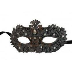 Black Lace Masquerade Mask with Gems