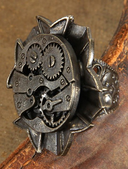 Rough Silver Steampunk Ring With Gears