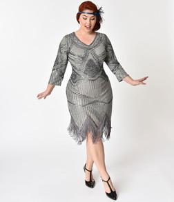 Vintage Silver Fringe & Sequin Flapper Dress - Plus Size