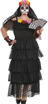 Day of the Dead Dress Costume - Plus Size