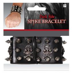 Biker Punk Black Spike Skull Bracelet