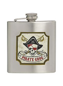 Pirate Grog Silver Prop Flask