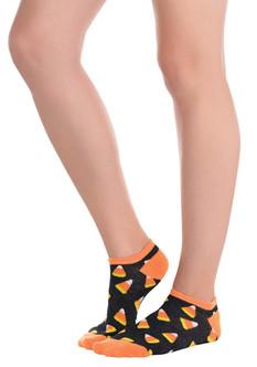Candy Corn Pattern Black Socks