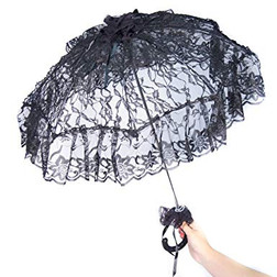 Black Theatrical Victorian Lace Parasol