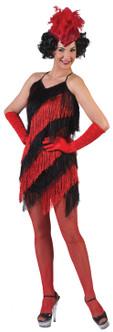 20s Ladies Charleston Black and Red Fringed Flapper Dress