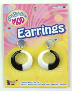 Black and White Hoop Mod Earrings