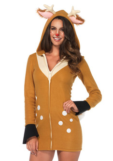 Cozy Fawn Fleece Hoodie Dress Costume - Plus Size