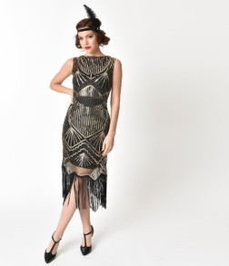 Adult Therese Black Gold Sequined Flapper Dress