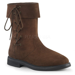 Pirate Side-Laced Mid Calf Brown Leather Boots