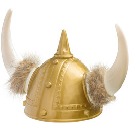 Gold Viking Helmet With Fur And Horns