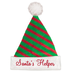 Santa's Helper Green And Red Striped Hat