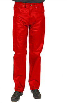 Adult Vibrant Red Pleather Costume Pants