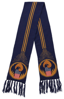CLEARANCE - MACUSA Navy Blue & Gold Knit Scarf