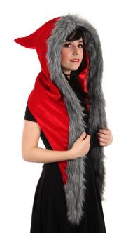 Long Velvet Fur Lined Red Riding Hood