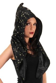 Black Satin Wizard Hood With Gold Stars