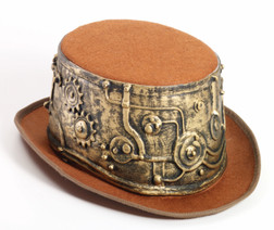 Molded Gold & Brown Felt Steampunk Top Hat