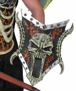 Fantasy Medieval Warrior Skull & Flame Shield