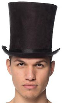 Leather-Like Classic Tall Black Top Hat