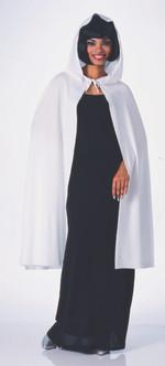 Basic White Hooded Satin-Like Costume Cape